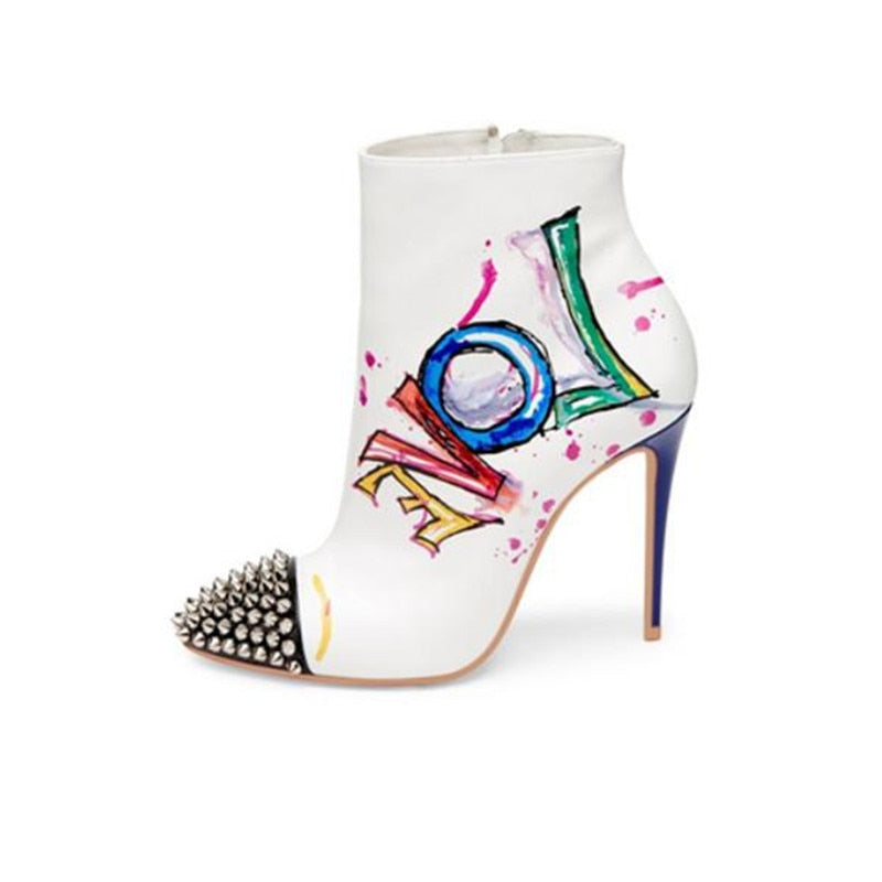 SPIKED RUNWAY Painted Heels Pointed Toe Ankle Boots