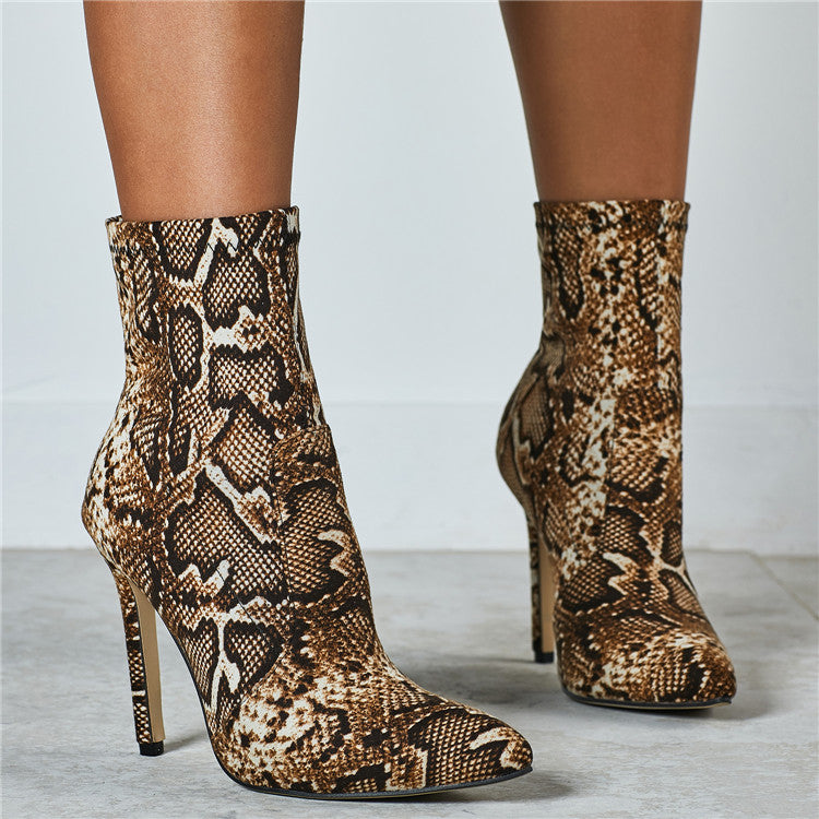 Exotic Elation- Leopard/Snake Skin High Heeled Boots