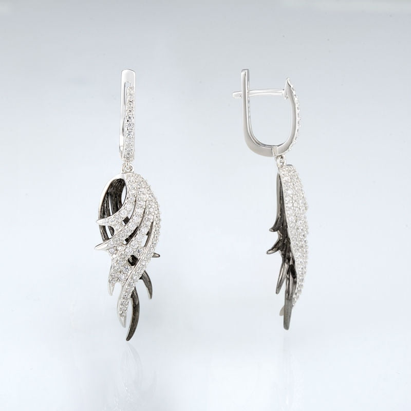 Felicity's Platinum/Noir Feathers- Drop Earrings