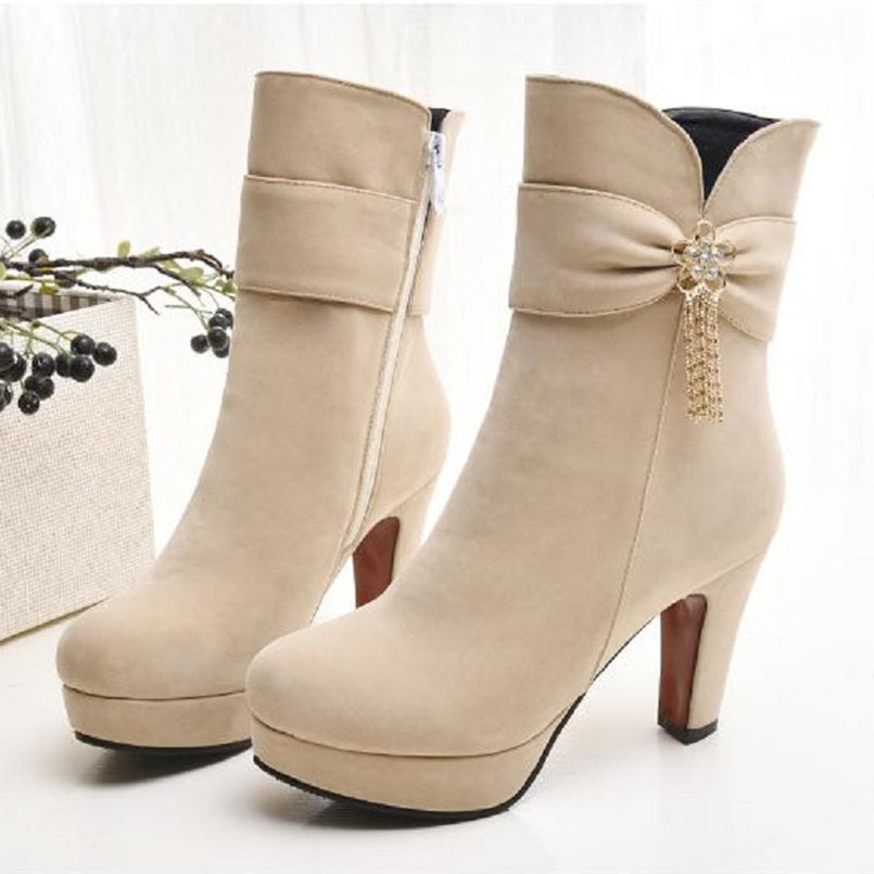 Gushing Glimpse- High Heel Ankle Boots
