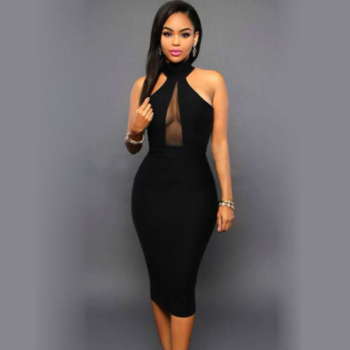 Miss Sophistication-Halter Neck Midi Dress