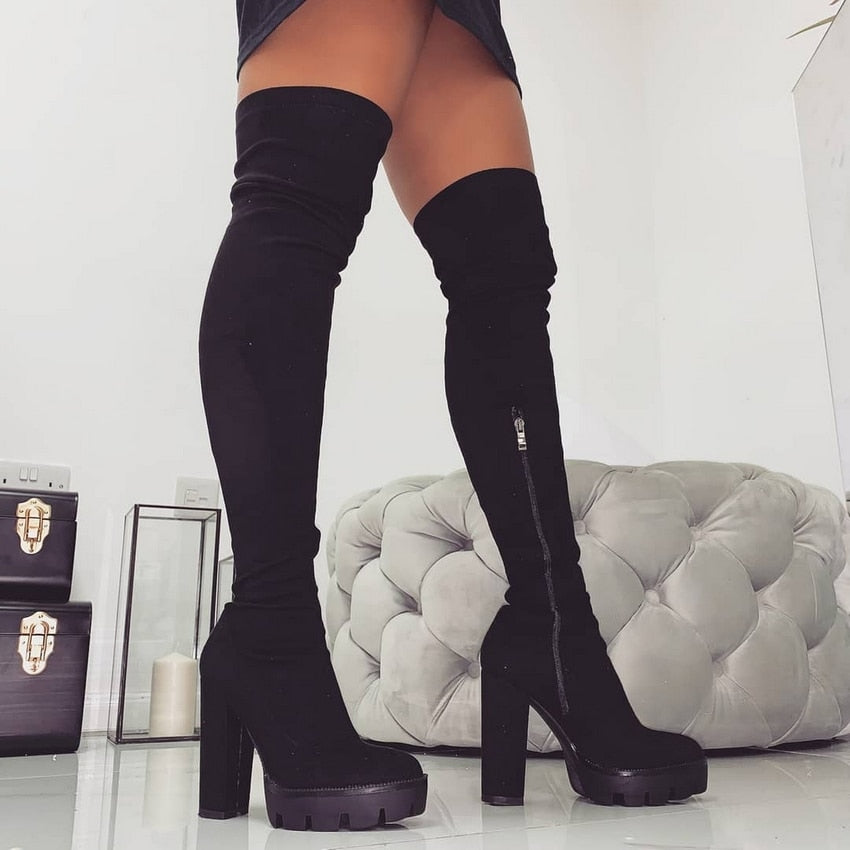 Wrapped in Confidence- Platform Heeled Thigh High Boots