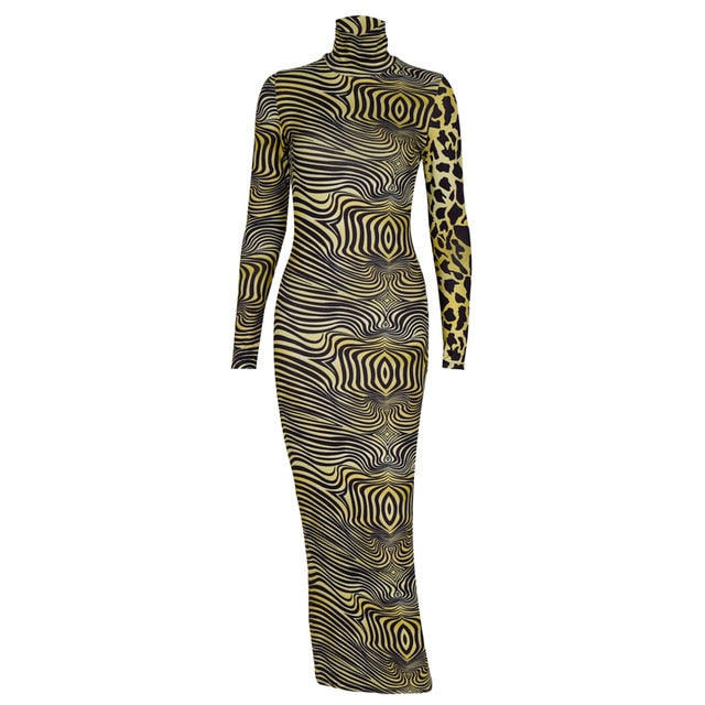 PROWLING THE STREETS- Leopard Zebra Print Midi Dress