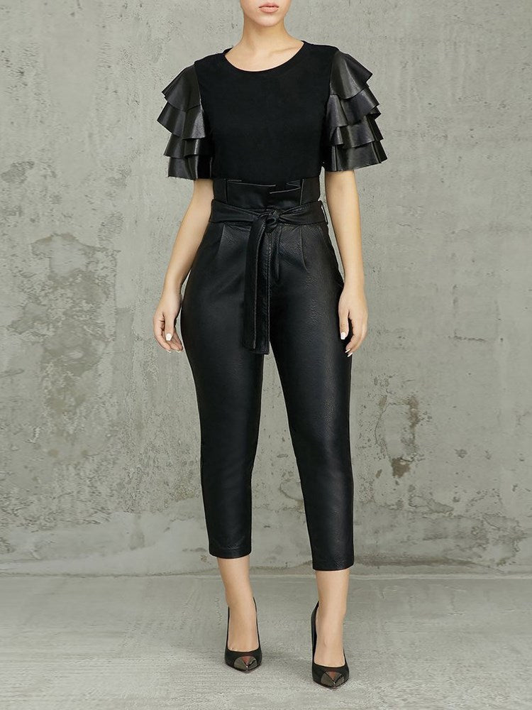 Business Boss in Leather- High Waist Leather Pants