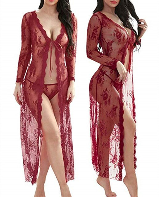 Embrace Her- Laced Transparent Robe