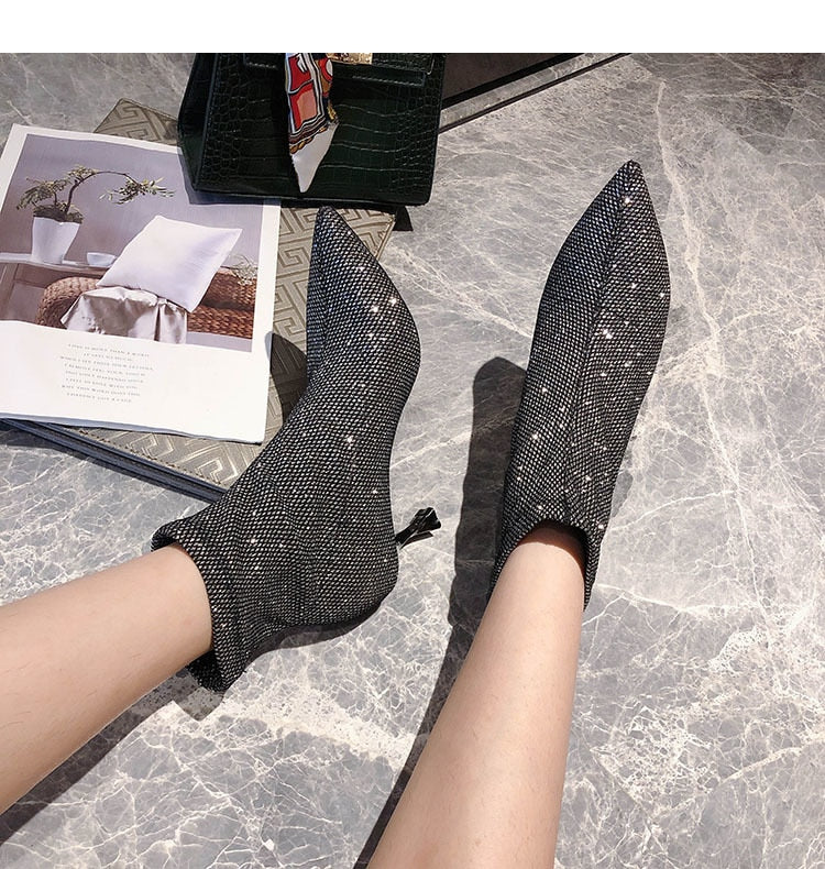 Higher Expectations- Rhinestone Ankle Boots
