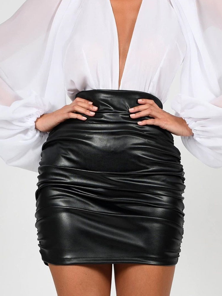 Catch Feelings- Leather Mini Skirt