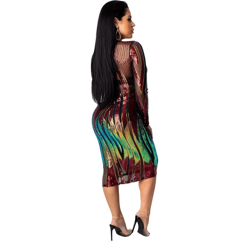 Color Me Perfect- Sequined Midi Dress