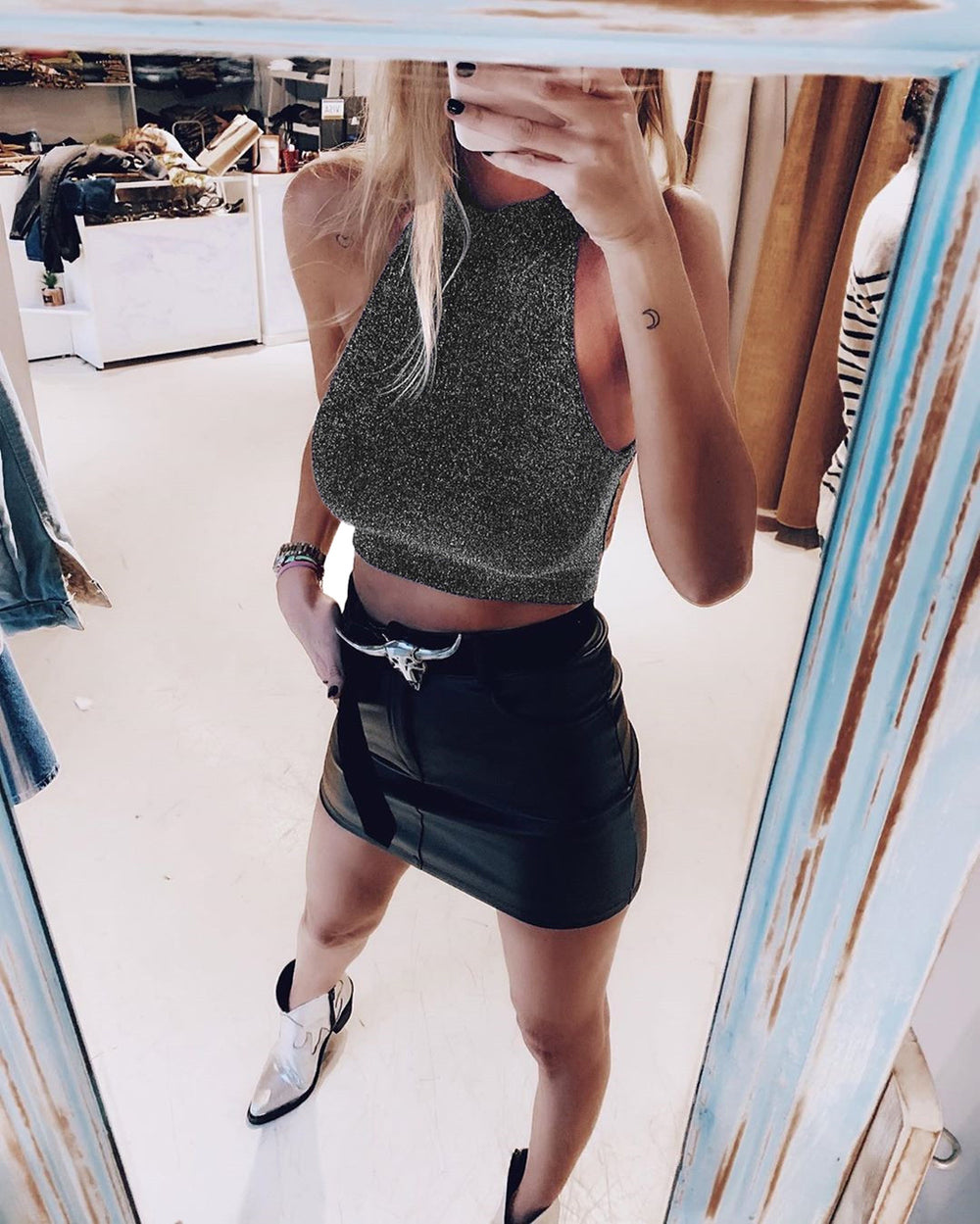 Sienna's Shine- Halterneck Crop Top