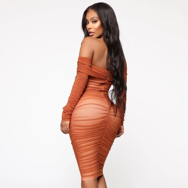Own It All- Off Shoulder Bodycon Ruched Midi (Champagne Brown)