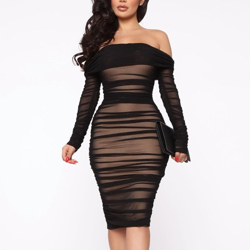 Own It All- Off Shoulder Mesh Bodycon Ruched Midi (Midnight Black)