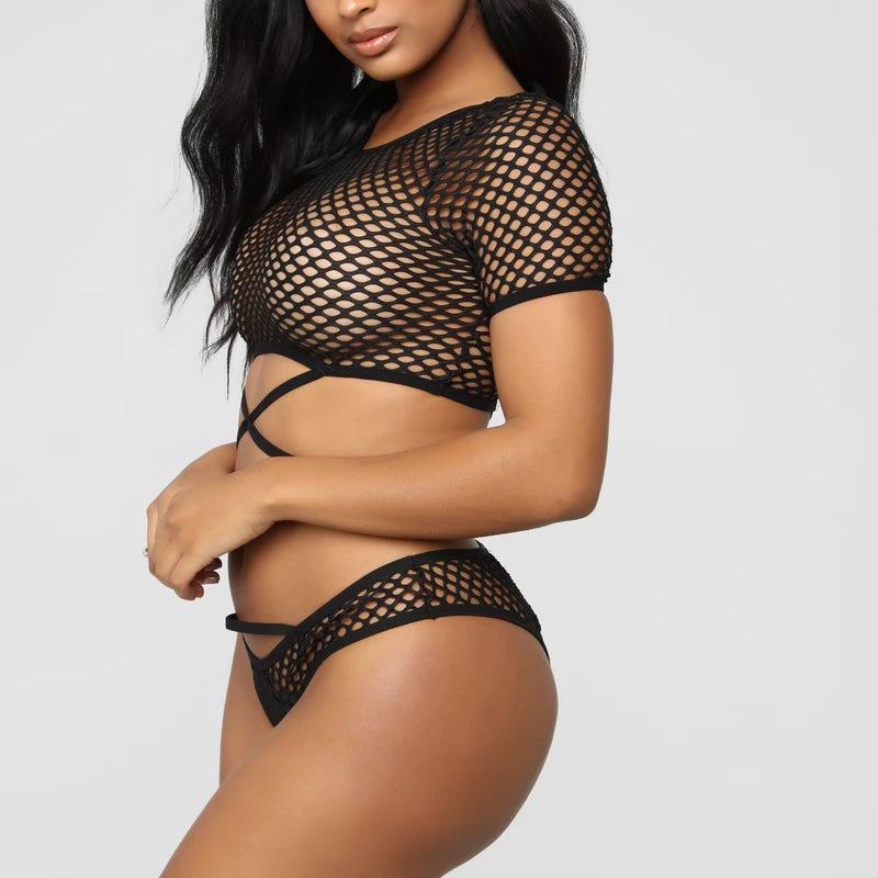 Too Cute For You- Mesh Thong Set