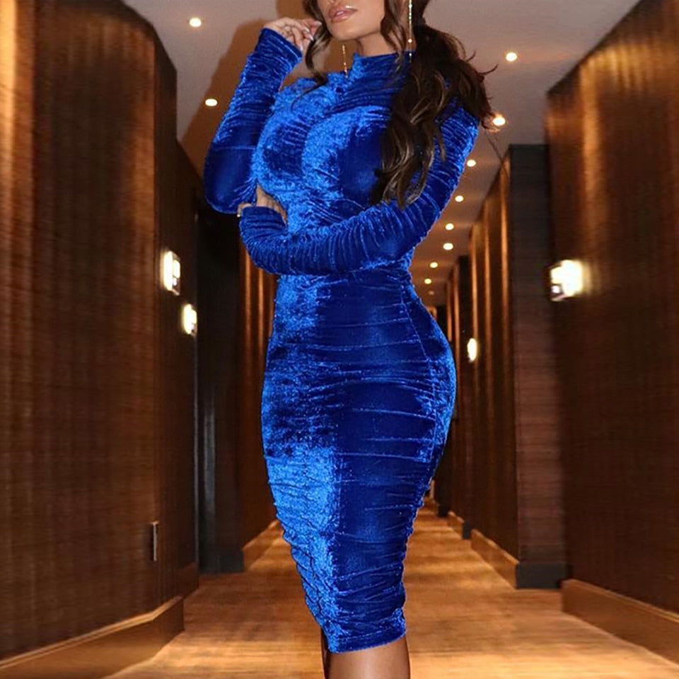 Queen Of The New World- Velvet Ruched Bodycon Midi