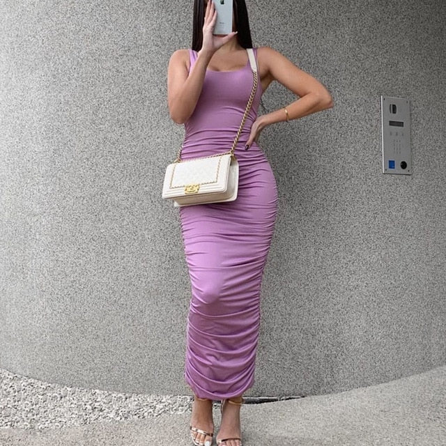 Medusa Has Awakened- Ruched Bodycon Maxi