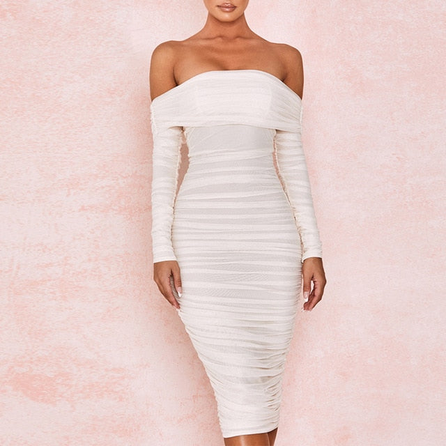 Own It All- Off Shoulder Bodycon Ruched Midi (Pure White)