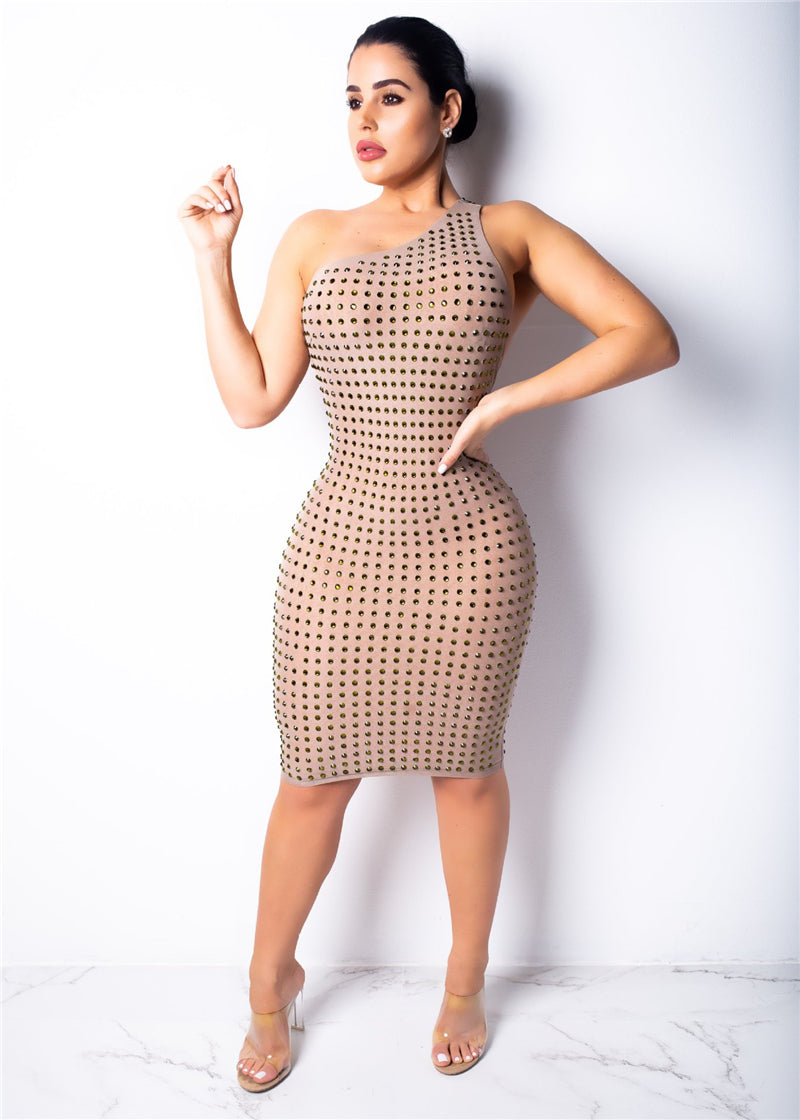 Treasure Me- Scintilating Bodycon Mini (Khaki)