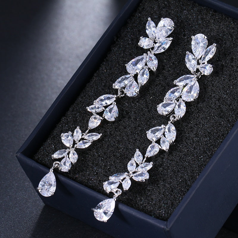 Egeria's Gift- Crystal Leaf Earrings