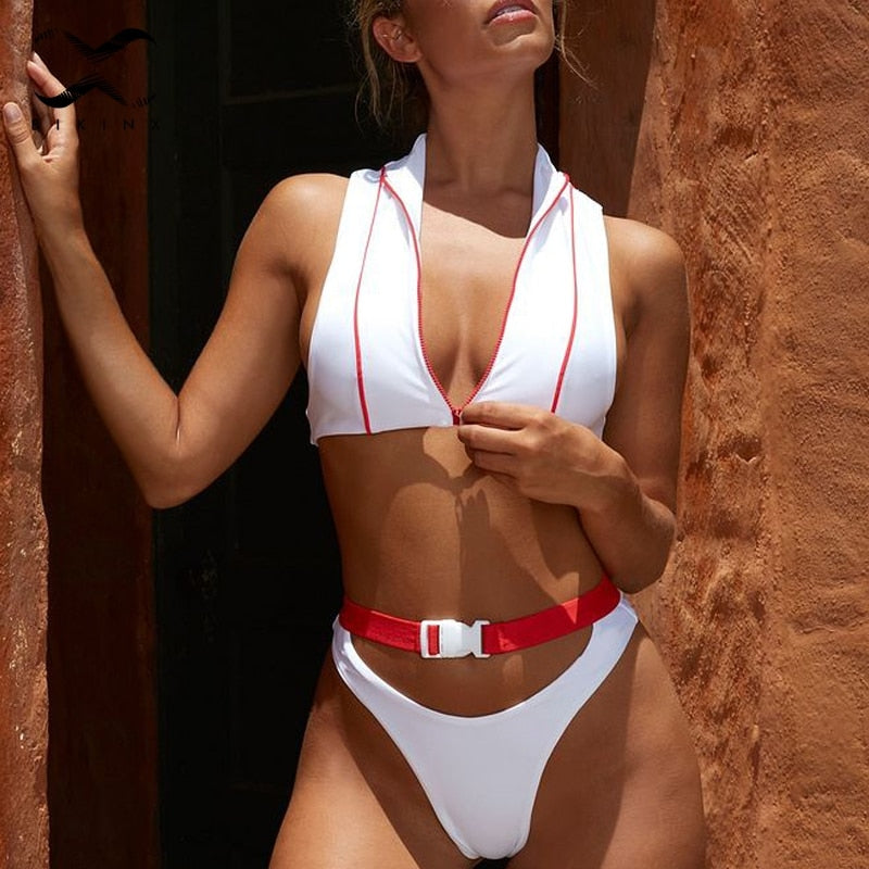 Born Ready Zipper-Jacket Bikini Set
