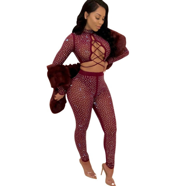 Dusk Till Dawn- Sequined Crop Top Set