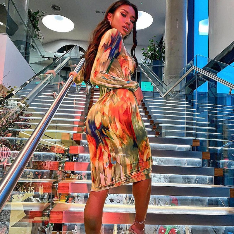 Autumn Bliss- Elegant Tie Dye Bodycon Midi