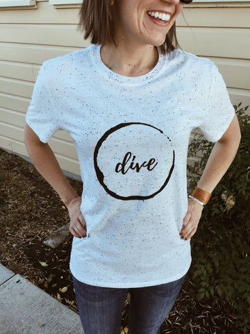Dive - Unisex Cream Tri-blend Fleck Short-Sleeve T-Shirt