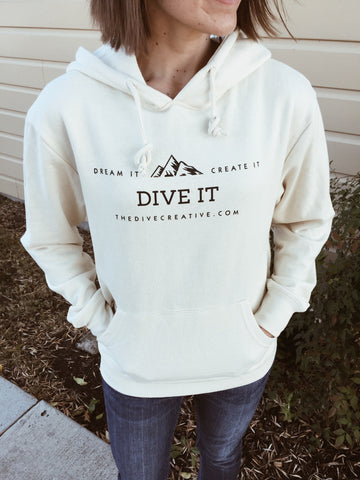 Dive Hoodie - Cream Unisex Tri-blend French Terry Hoodie