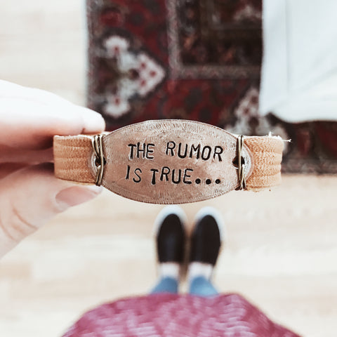"re:Created Co. ""The Rumor is True"" Leather Bracelet"