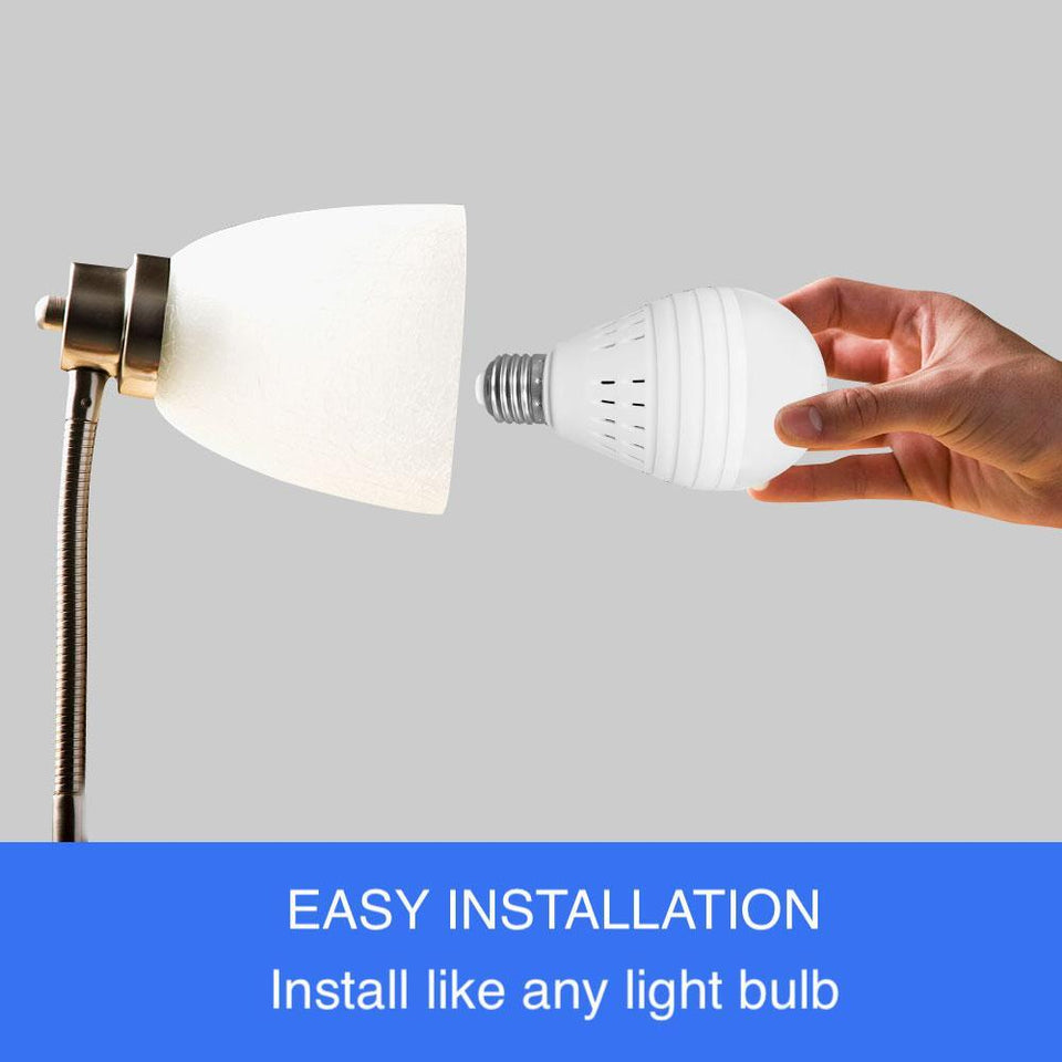 Light Bulb Wireless 360 Degree Panoramic View Camera