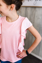 Load image into Gallery viewer, Pink ruffle short sleeve shirt