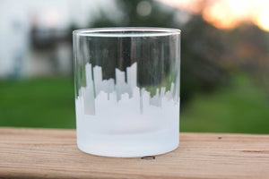Busan, South Korea Skyline Silhouette Rocks Glass - Urban and Etched