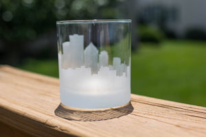 Rochester, New York Skyline Silhouette Rocks Glass - Urban and Etched