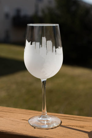 Vilnius, Lithuania Skyline Silhouette Wine Glass - Urban and Etched