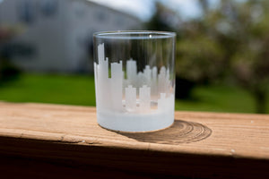 Detroit, Michigan Skyline Silhouette Rocks Glass - Urban and Etched
