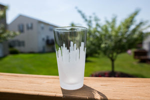 Custom Skyline Outline Silhouette Pint Glasses - Urban and Etched