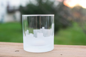 Wilmington, North Carolina Skyline Silhouette Rocks Glass - Urban and Etched
