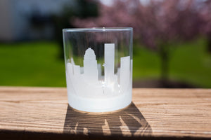 Louisville, Kentucky Skyline Silhouette Rocks Glass - Urban and Etched