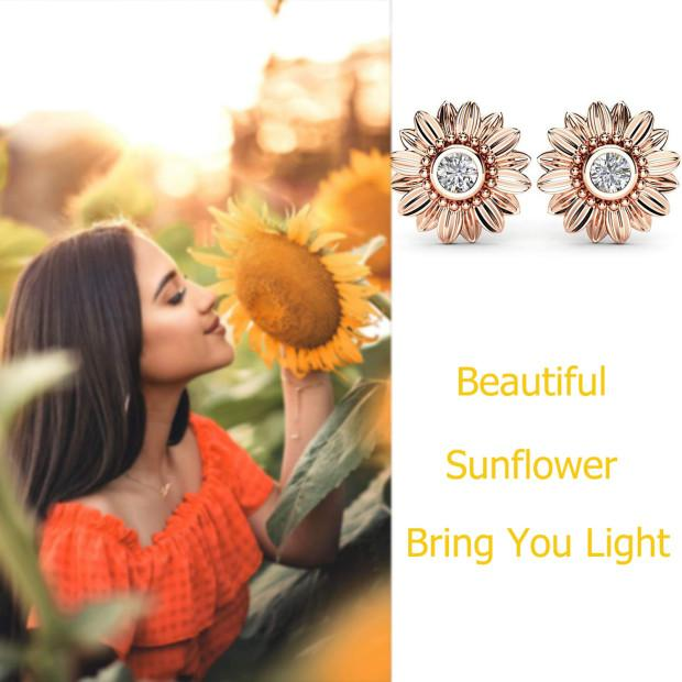 🌻You Are My Sunshine Sunflower Crystal Stud Earrings