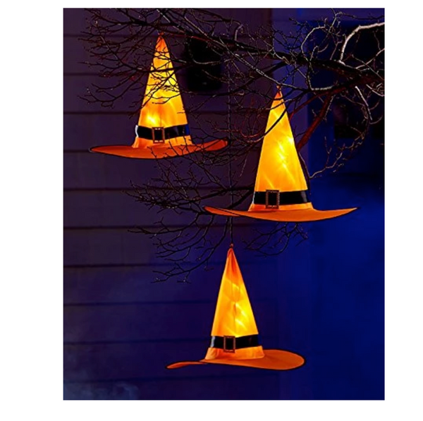 (2Pcs)HALLOWEEN Decorations Glowing Witch Hat Decorations 2 in 1 Hanging/Wearable