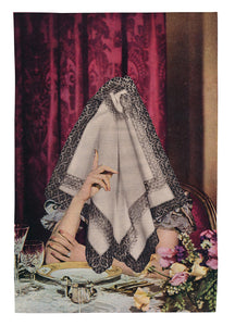 Untitled (woman, dinner table, cloth)