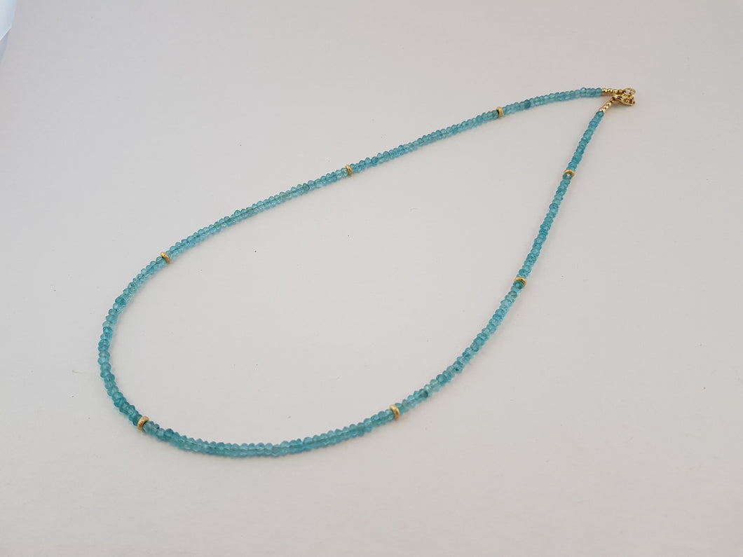 Blue Aquamarine Beads Necklace with round 24K Gold Nuggets