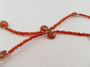 Orange Sapphire Beads and faceted Drop Necklace, 24K Gold