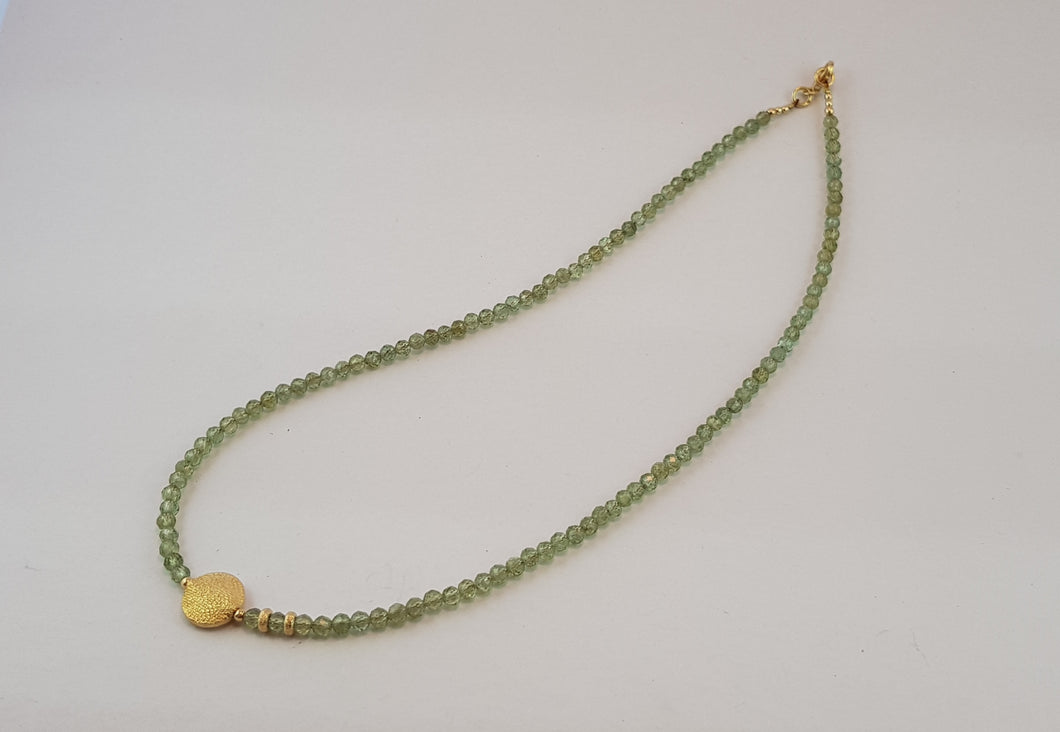 Peridot Necklace with 24K Gold round Pendat