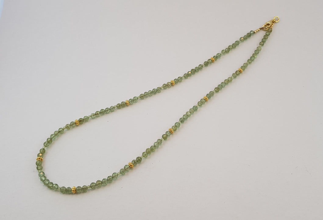 Peridot Necklace with 24K Gold Crown Nuggets