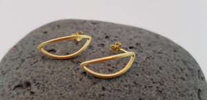 Half Moon Earring Studs, 24 Ct. Gold/ Silver