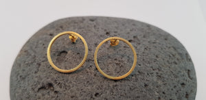 Round Earring Studs,  24 Ct. Gold/ Silver