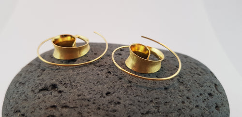 Spiral Earrings, 24 Ct. Gold/ Silver