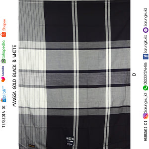 SARUNG MANGGA GOLD BLACK & WHITE  ECER/GROSIR 10-PCS