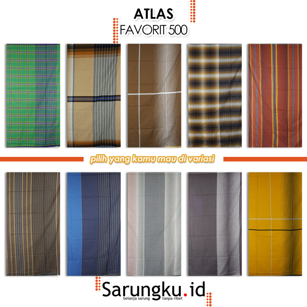 SARUNG ATLAS FAVORIT 500 SALUR ECER/GROSIR 10PCS