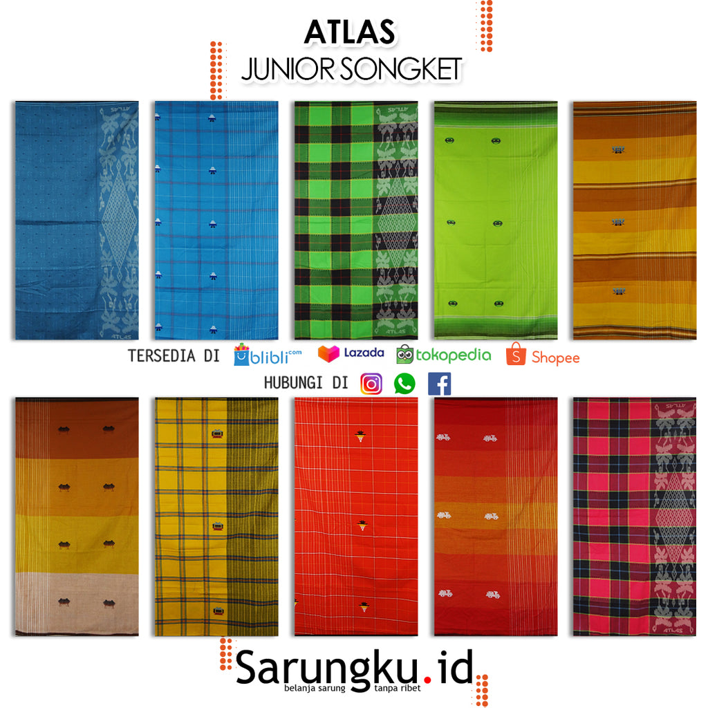 SARUNG ATLAS JUNIOR SONGKET  ECER/GROSIR 10-PCS