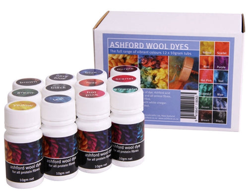 Ashford Acid Dyes - 12 x 10g kit